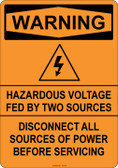 Warning Hazardous Voltage, #53-522 thru 70-522
