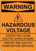 Warning Hazardous Voltage, #53-523 thru 70-523