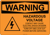 Warning Hazardous Voltage, #53-525 thru 70-525