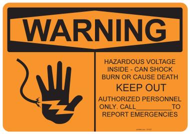 Warning Hazardous Voltage Inside, #53-527 thru 70-527