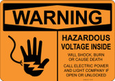 Warning Hazardous Voltage Inside, #53-528 thru 70-528