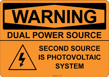 Warning Dual Power Source, #53-530 thru 70-530