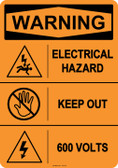 Warning Electrical Hazard, #53-615 thru 70-615