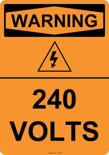 Warning 240 Volts, #53-622 thru 70-622