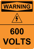 Warning 600 Volts, #53-625 thru 70-625