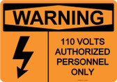 Warning 110 Volts, #53-626 thru 70-626