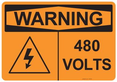 Warning 480 Volts, #53-634 thru 70-634