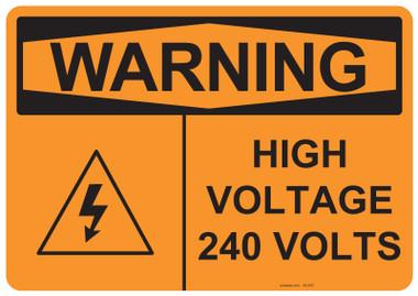Warning High Voltage 240 Volts, #53-637 thru 70-637