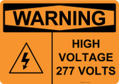 Warning High Voltage 277 Volts, #53-638 thru 70-638