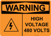 Warning High Voltage 480 Volts, #53-639 thru 70-639
