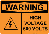Warning High Voltage 600 Volts, #53-640 thru 70-640