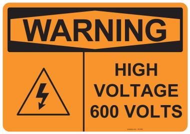 Warning High Voltage 600 Volts, #53-640 thru 70-640