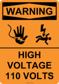 Warning High Voltage 110 Volts, #53-641 thru 70-641