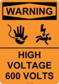 Warning High Voltage 600 Volts, #53-645 thru 70-645
