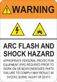 Warning Arc Flash and Shock Hazard #53-721 thru 70-721