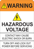 Warning Hazardous Voltage #53-723 thru 70-723