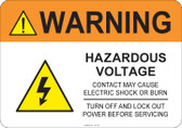 Warning Hazardous Voltage #53-725 thru 70-725