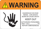 Warning Hazardous Voltage Inside #53-727 thru 70-727