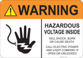 Warning Hazardous Voltage Inside #53-728 thru 70-728