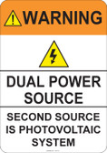 Warning Dual Power Source #53-731 thru 70-731