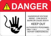 Danger Hazardous Voltage Inside #53-327 thru 70-327