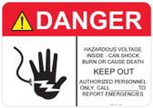 Danger Hazardous Voltage Inside #53-327 thru 70-327