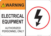 Warning Electrical Equipment #53-749 thru 70-749