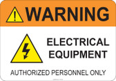 Warning Electrical Equipment #53-750 thru 70-750