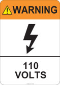 Warning 110 Volts #53-816 thru 70-816