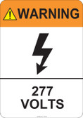 Warning 277 Volts #53-818 thru 70-818