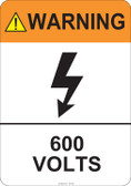 Warning 600 Volts #53-820 thru 70-820