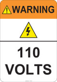Warning 110 Volts #53-821 thru 70-821