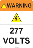 Warning 277 Volts #53-823 thru 70-823