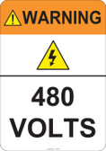 Warning 480 Volts #53-824 thru 70-824