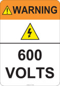 Warning 600 Volts #53-825 thru 70-825