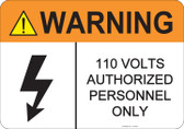 Warning 110 Volts, #53-826 thru 70-826