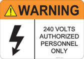 Warning 240 Volts, #53-827 thru 70-827