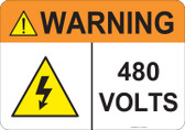 Warning 480 Volts, #53-834 thru 70-834