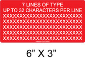 "CUSTOM LABEL- 6"" x 3"" - 1/4"" Letters - Item #03-707"