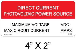 """Direct Current Photovoltaic Power Source Sign - 4"""" X 2"""" - Item #07-208"""
