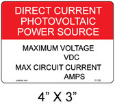 "Direct Current Photovoltaic Power Source Sign - 4"" X 3"" - Item #07-209"