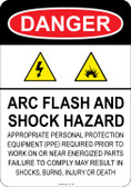 Danger Arc Flash and Shock Hazard, #53-121 thru 70-121
