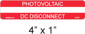 PV Labels - Photovoltaic DC Disconnect - write in - 03-301