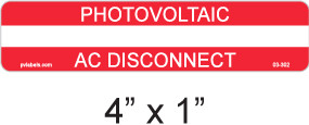 PV Labels - Photovoltaic AC Disconnect - write in - 03-302