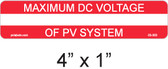 PV Labels - Maximum DC Volatge of PV System - write in - 03-303