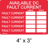 Available DC Fault Current Label - Item #03-514