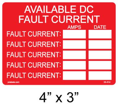 Available DC Fault Current Label - Item #03-514