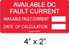 Available DC Fault Current Label - write in - Item #03-513