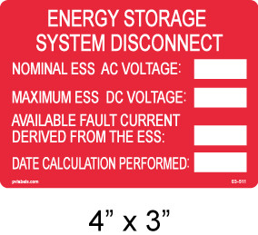 Energy Storage System Disconnect Label - write in - Item #03-511
