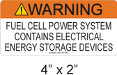 "Warning Fuel Cell Power Source Label - 4"" X 2"" - 1/4"" Letters - Item #05-211"